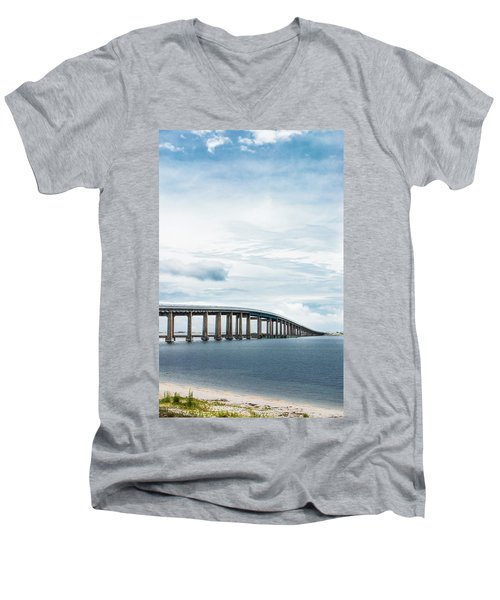 Men's V-Neck T-Shirt featuring the photograph Navarre Bridge In Florida On The Sound Side by Shelby Young
