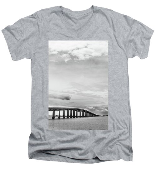 Men's V-Neck T-Shirt featuring the photograph Navarre Bridge Monochrome by Shelby Young