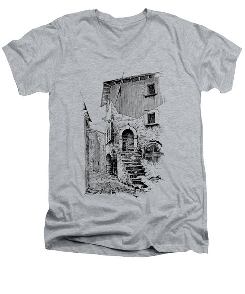 Navelli Dip Pen Sketch  Men's V-Neck T-Shirt