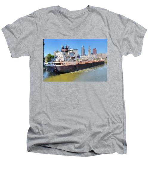 Navigating The Cuyahoga Men's V-Neck T-Shirt by Brent Durken