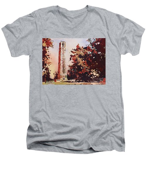 Men's V-Neck T-Shirt featuring the painting Ncsu Bell-tower II by Ryan Fox