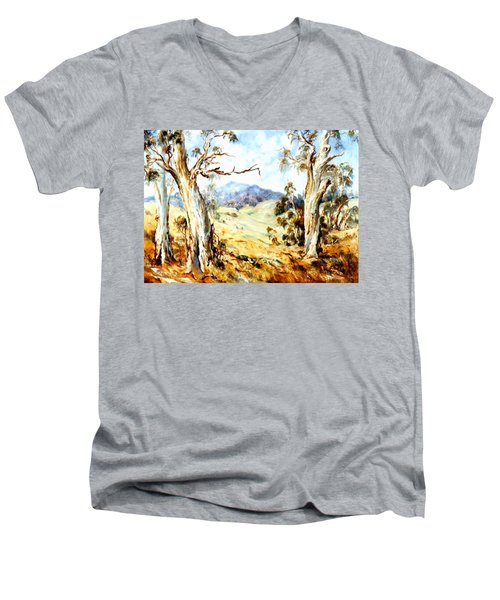 Men's V-Neck T-Shirt featuring the painting Near Avoca by Ryn Shell