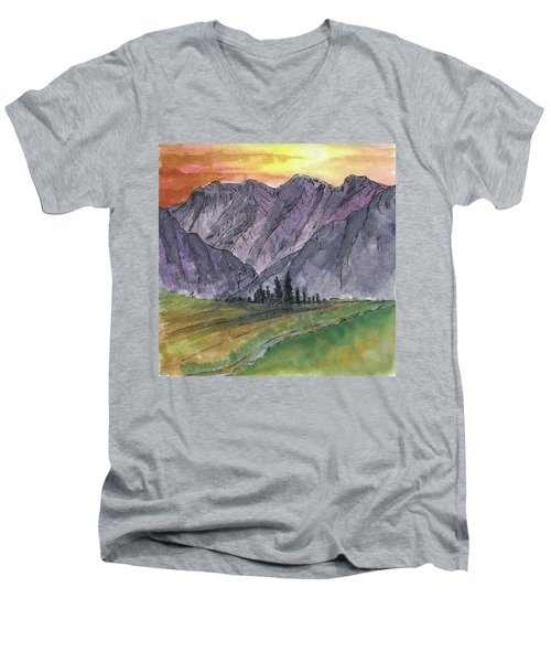 Near Canyon Entrance Men's V-Neck T-Shirt by R Kyllo
