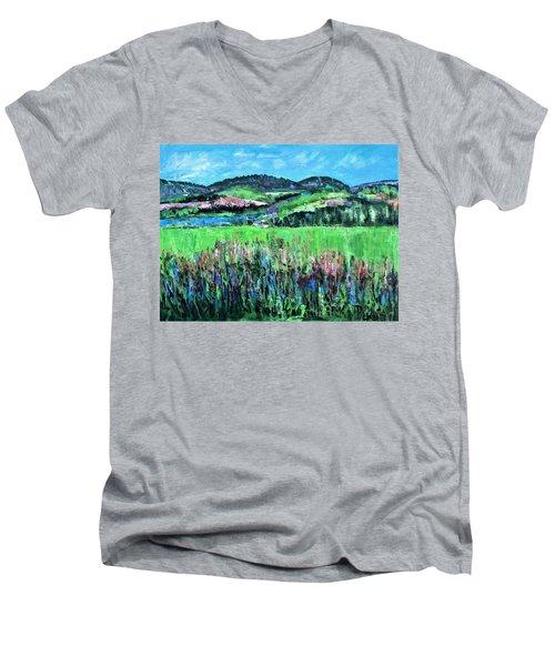 Near Cooperstown Men's V-Neck T-Shirt by Betty Pieper