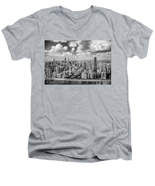 Men's V-Neck T-Shirt featuring the photograph Near North Side And Gold Coast Black And White by Adam Romanowicz
