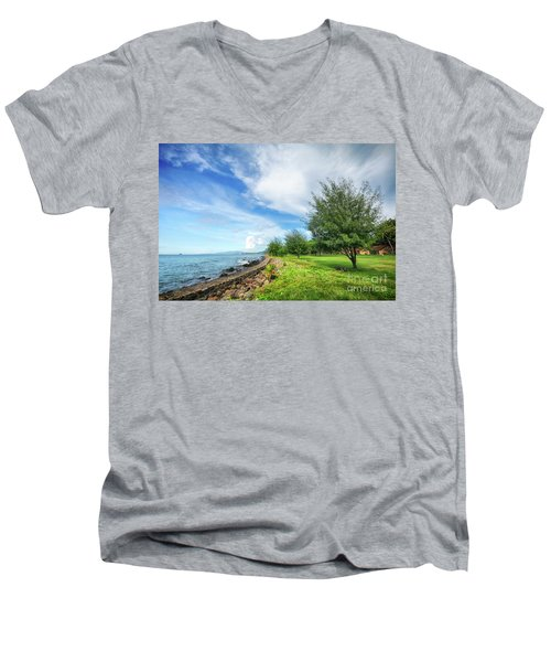 Men's V-Neck T-Shirt featuring the photograph Near The Shore by Charuhas Images