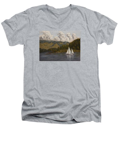 Nearing The Point Men's V-Neck T-Shirt by Alan Mager