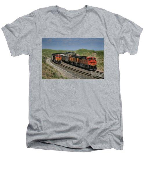 Nebraska Coal Trains Men's V-Neck T-Shirt by Garry McMichael