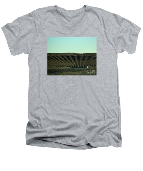 Men's V-Neck T-Shirt featuring the photograph Nebraska Corn Rows by Mark McReynolds