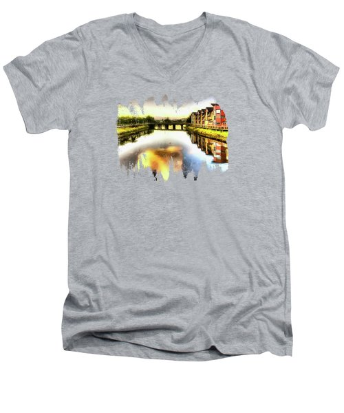 Men's V-Neck T-Shirt featuring the photograph Necanium River Seaside by Thom Zehrfeld