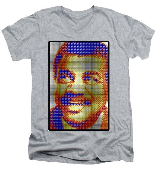 Men's V-Neck T-Shirt featuring the digital art Neil Degrasse Tyson Art Mosaic by Shawn Dall