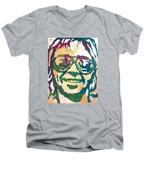 Neil Young Pop Stylised Art Poster Men's V-Neck T-Shirt
