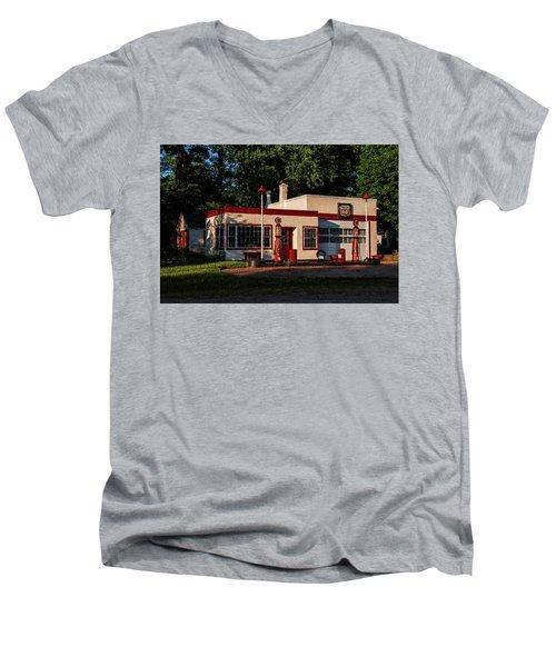 Nelsonville Phillips 66 Men's V-Neck T-Shirt by Trey Foerster