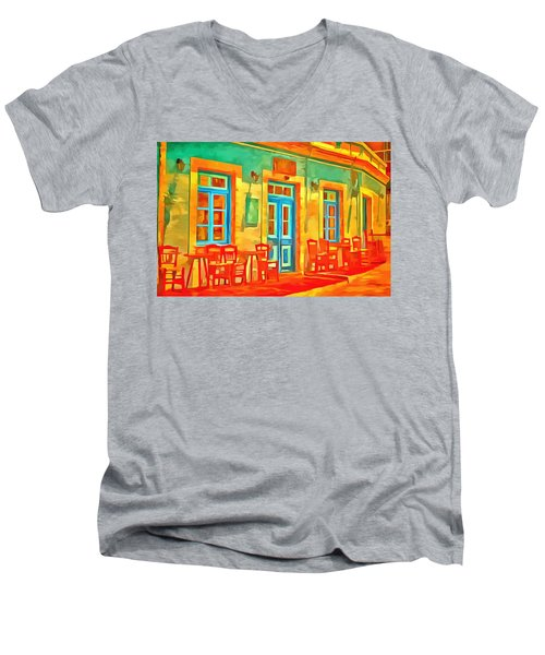 Men's V-Neck T-Shirt featuring the painting neon Cafe by Harry Warrick