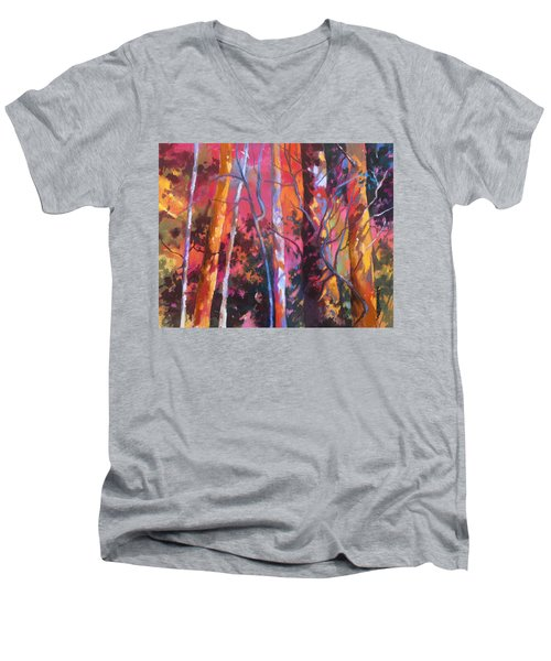 Men's V-Neck T-Shirt featuring the painting Neon Damsels by Rae Andrews