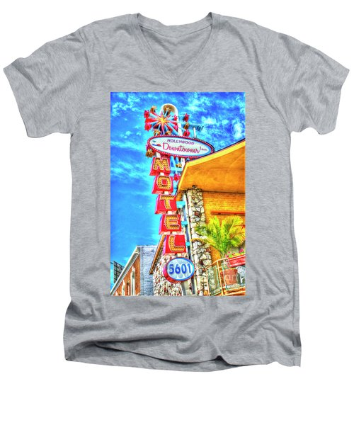 Neon Motel Sign Men's V-Neck T-Shirt by Jim And Emily Bush