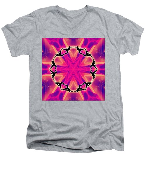 Men's V-Neck T-Shirt featuring the digital art Neon Slipstream by Derek Gedney