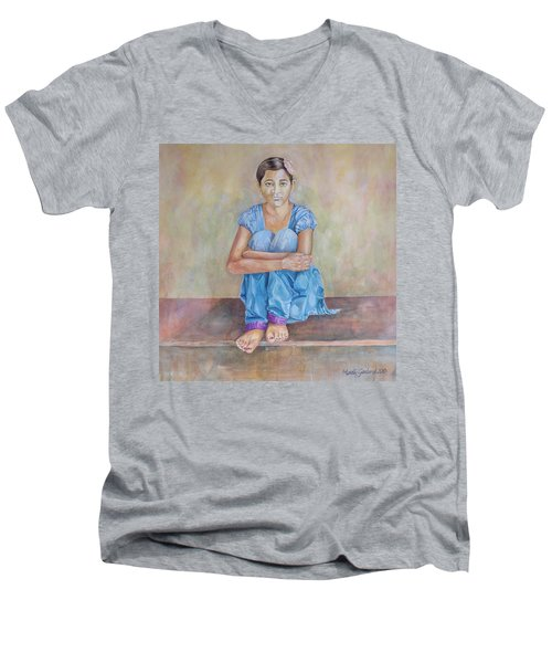 Nepal Girl 4 Men's V-Neck T-Shirt by Marty Garland