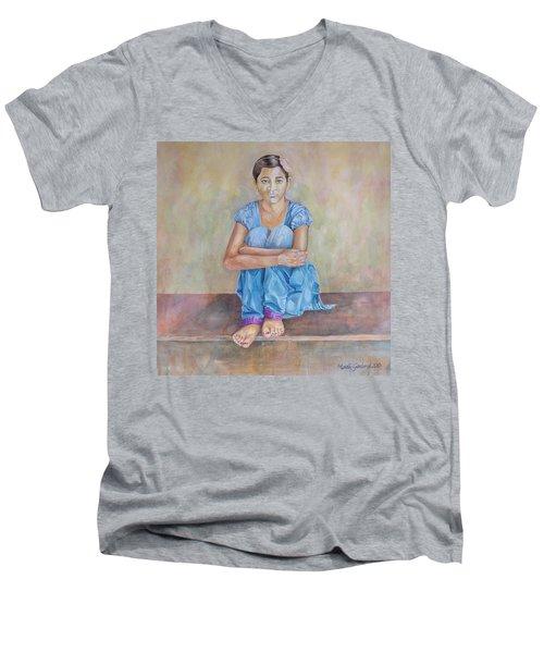 Nepal Girl 4 Men's V-Neck T-Shirt