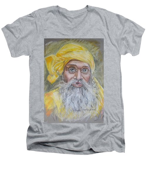 Nepal Man 6 Men's V-Neck T-Shirt by Marty Garland