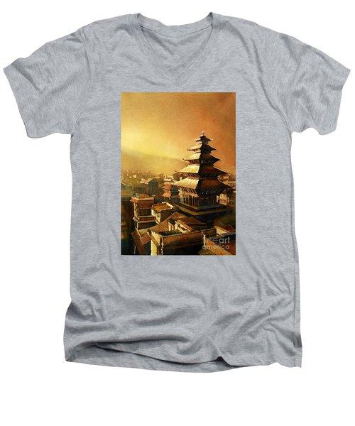 Nepal Temple Men's V-Neck T-Shirt