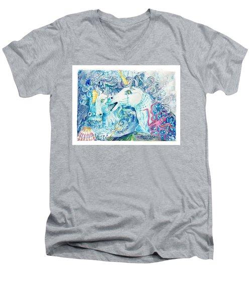 Neptune's Horses Men's V-Neck T-Shirt