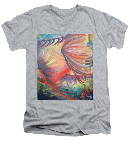 Men's V-Neck T-Shirt featuring the painting Neptune's View by Renate Nadi Wesley