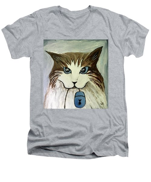 Men's V-Neck T-Shirt featuring the painting Nerd Cat by Victoria Lakes