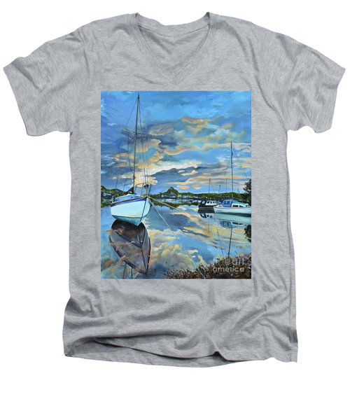 Nestled In For The Night At Mylor Bridge - Cornwall Uk - Sailboat  Men's V-Neck T-Shirt