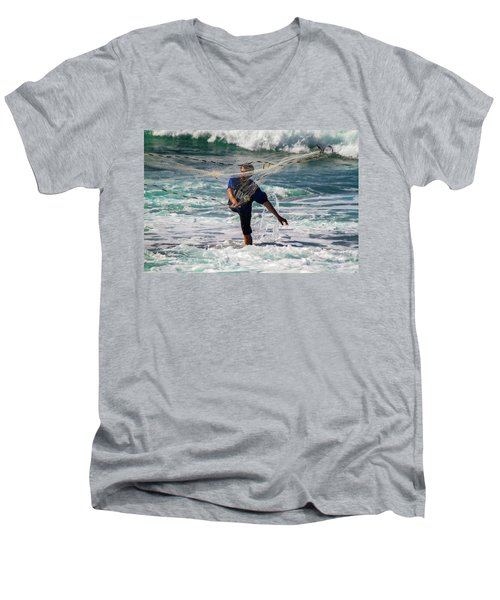 Net Fishing Men's V-Neck T-Shirt by Roger Mullenhour