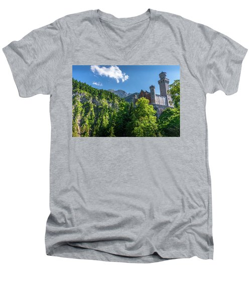 Men's V-Neck T-Shirt featuring the photograph Neuschwanstein Castle by David Morefield