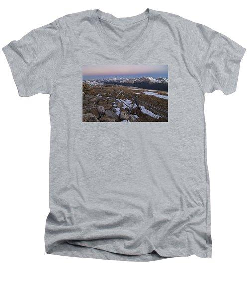 Never Summer Range Men's V-Neck T-Shirt by Gary Lengyel