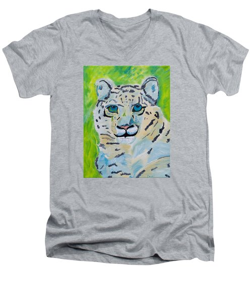 Eyes On You Snow Leopard Men's V-Neck T-Shirt by Meryl Goudey