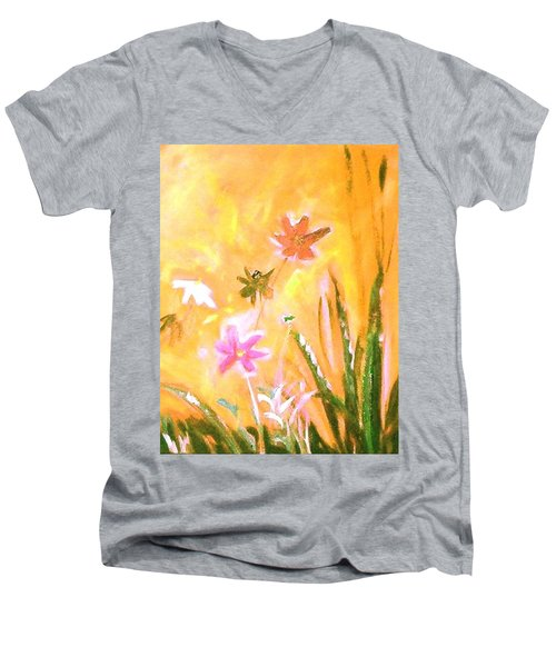Men's V-Neck T-Shirt featuring the painting New Daisies by Winsome Gunning