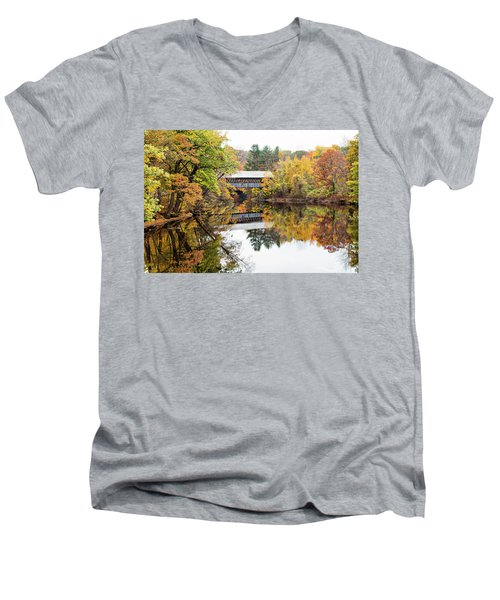 New England Covered Bridge No.63 Men's V-Neck T-Shirt
