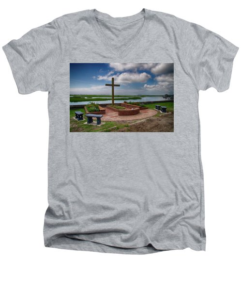 Men's V-Neck T-Shirt featuring the photograph New Garden Cross At Belin Umc by Bill Barber