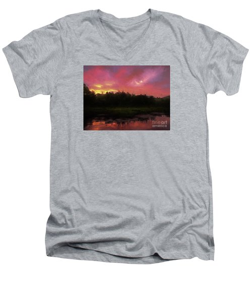 Men's V-Neck T-Shirt featuring the photograph New Hampshire Sunrise Glaze by Mim White