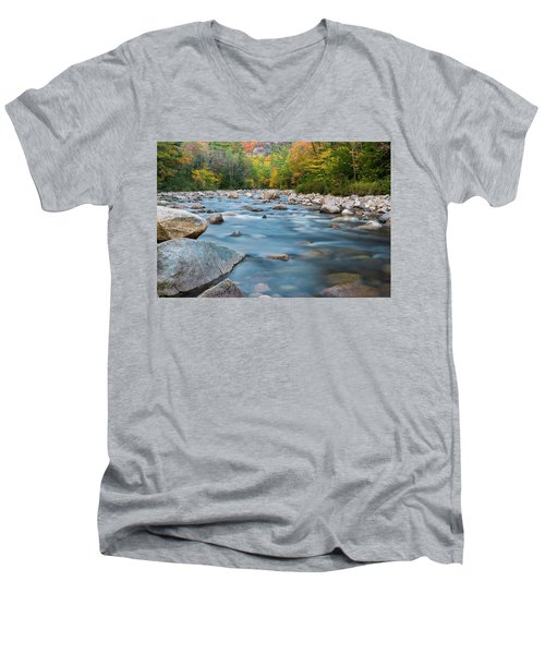 New Hampshire Swift River And Fall Foliage In Autumn Men's V-Neck T-Shirt by Ranjay Mitra