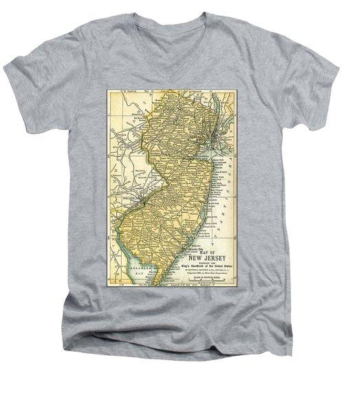 New Jersey Antique Map 1891 Men's V-Neck T-Shirt