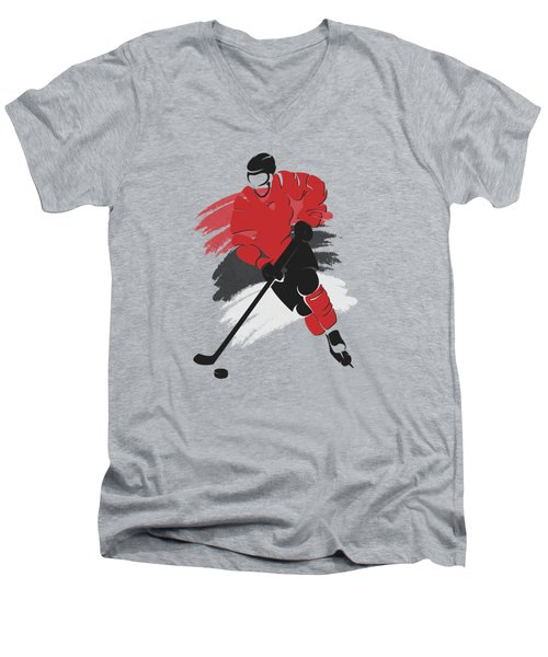 New Jersey Devils Player Shirt Men's V-Neck T-Shirt by Joe Hamilton
