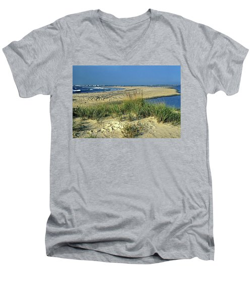 New Jersey Inlet  Men's V-Neck T-Shirt by Sally Weigand