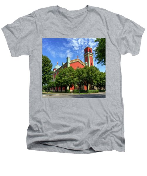New Lutheran Church In Kezmarok, Slovakia Men's V-Neck T-Shirt by Elenarts - Elena Duvernay photo