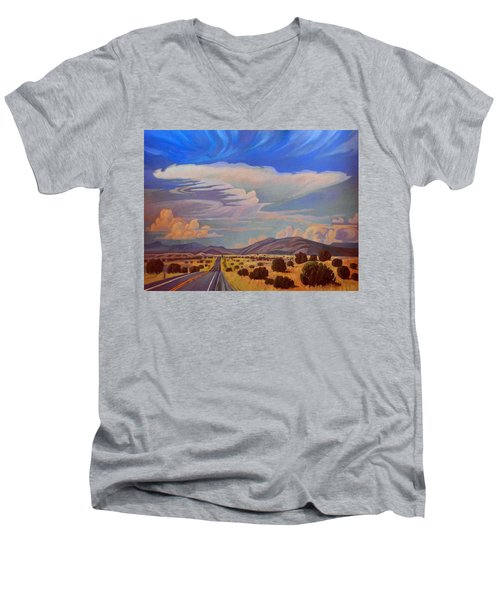Men's V-Neck T-Shirt featuring the painting New Mexico Cloud Patterns by Art James West