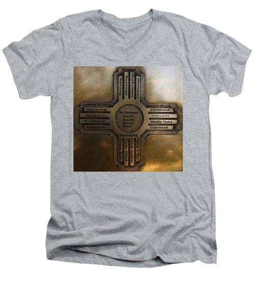 New Mexico State Symbol The Zia Men's V-Neck T-Shirt by Joseph Frank Baraba