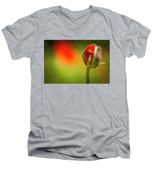 New Orange Poppy Bloom Men's V-Neck T-Shirt