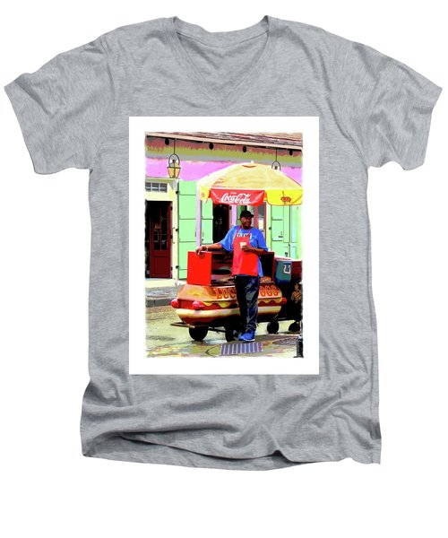 New Orleans Hotdog Vendor Men's V-Neck T-Shirt