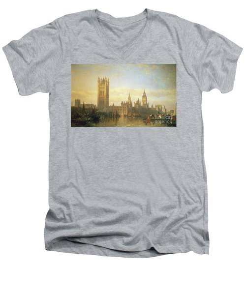 New Palace Of Westminster From The River Thames Men's V-Neck T-Shirt