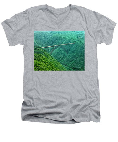 Men's V-Neck T-Shirt featuring the photograph New River Gorge Bridge by Mark Allen