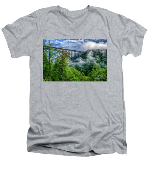 New River Gorge Bridge Morning  Men's V-Neck T-Shirt