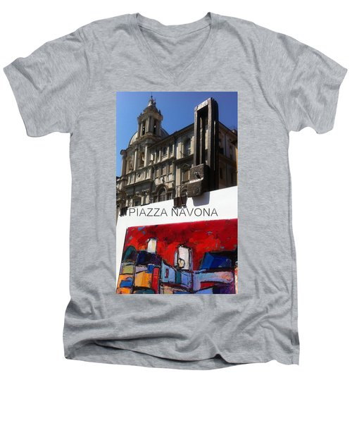 new work Piazza Navona Men's V-Neck T-Shirt